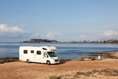 Camper at the mediterranean coast Royalty Free Stock Images
