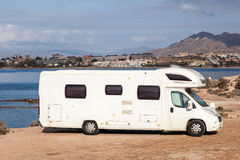 Camper at the mediterranean coast Royalty Free Stock Photography