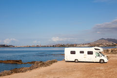 Camper at the mediterranean coast Stock Image