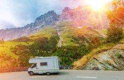 Camper Mountain Trip Royalty Free Stock Image