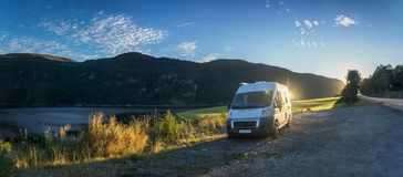With the camper in Norway Royalty Free Stock Image