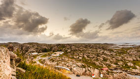 Camper park and coastline near Lindesnes lighthouse Royalty Free Stock Photo