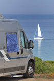 Camper parked on the beach Royalty Free Stock Images