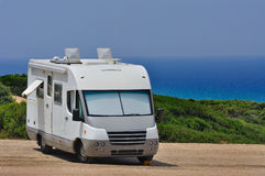 Camper parked on the beach Royalty Free Stock Image