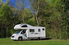Camper parked in a countryside Stock Image