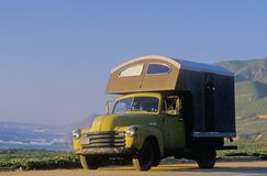 A camper parked on Route 1 in Northern California Stock Photos