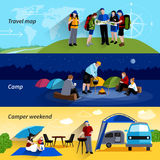 Camper People Banners Set. Camper people horizontal banners set with camp family picnic and travel map symbols flat  vector illustration Stock Photography