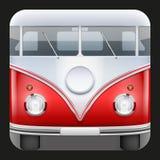 Camper popolare del classico del bus dell'icona quadrata Fotografia Stock