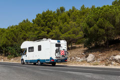 Camper on the road Royalty Free Stock Photos