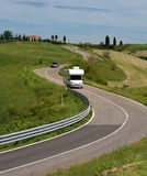 Camper on the Road. In Italy Royalty Free Stock Images