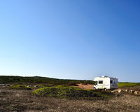 Camper on the road Royalty Free Stock Photography