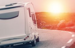 Camper RV Sunset Trip Royalty Free Stock Photography