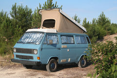 Camper savage van. Blue Camper savage van with a open roof stock photography