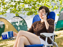 Camper talking on phone Stock Photos