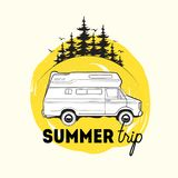 Camper trailer or campervan driving against spruce trees on background and summer trip inscription. Recreational vehicle. For road journey or camping. Vector Royalty Free Stock Images