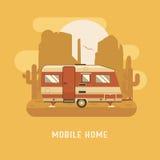 Camper Trailer on desert National Park Area. RV travel concept. Mobile home on wild desert landscape. Camping trailer caravan on buttes and cactus background stock illustration