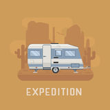 Camper Trailer on desert National Park Area. RV travel concept. Traveler truck campsite place landscape. Ð¡amper trailering on National park desert area royalty free illustration