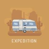 Camper Trailer on desert National Park Area Stock Photo