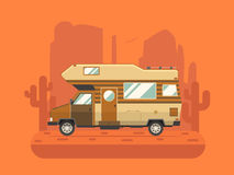 Camper Trailer on desert National Park Area. RV travel concept. Traveler truck campsite place landscape. Summertime camper trailering on National park desert vector illustration