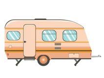 Camper trailer design. Cartoon camper trailer, travel mobile home design royalty free illustration
