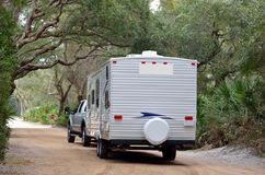 Camper trailer. A camper trailer entering a campsite Stock Photo