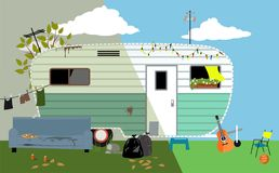 Remodel trailer home. Camper trailer home before and after renovation, EPS 8 vector illustration Stock Photos
