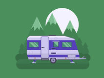 Camper Trailer on National Mountain Park Area. RV travel concept. Traveler truck campsite place landscape. Summertime camper trailering. National mountain park royalty free illustration