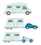 Camper and trailer set,  isolated Stock Photo