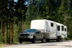 Camper trailer in Yellowstone royalty free stock photos