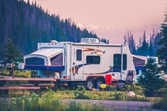 Camper Travel Trailer. Travel Trailer Pop Up Style Camping in Colorado Stock Photography
