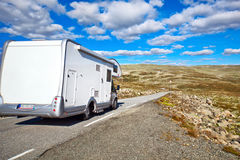 Camper traveling. On Norway mountains Royalty Free Stock Photo