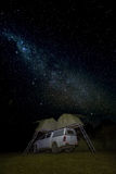 Camper under stars, Drakensburg Mountains, South Africa Royalty Free Stock Photos