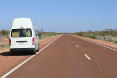 Hitop camper van at the Stuart Highway, Australian Outback  Stock Photo