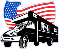 Camper van with american flag Stock Photos