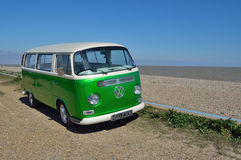 VW Camper Van on Beach Stock Photos