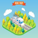 Camper van with bicycle on a roof. Travel and camping isometric vector illustration in flat 3d style. Outdoor camp vector illustration