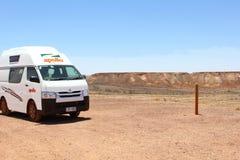 Campervan Breakaways, Coober Pedy, Australia stock image