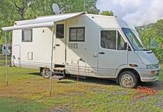 Camper van. In a camp site Stock Photo