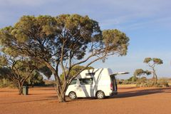 Camper van at a campsite in the Outback, Australia Royalty Free Stock Photography