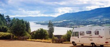 Camper van in countryside Royalty Free Stock Photo