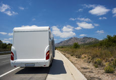 Camper van on the highway Royalty Free Stock Photography