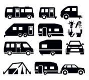 Camper van icons. Caravan or camper van icons on white Stock Photography