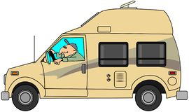 Camper van. This illustration depicts a man driving a class B camper van with an extended roof Royalty Free Stock Image