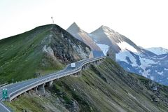 Summit of the Grossglockner Hochalpinestrasse. Camper van making its way along the pass high in th Austrian alps Stock Photos
