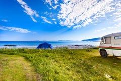 Camper van and tent on beach, Lofoten Norway royalty free stock photos