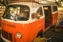 Camper van parked at campsite Royalty Free Stock Image