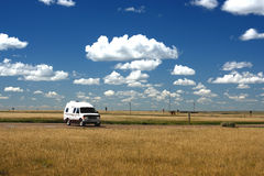 Camper van on Prairie Stock Image
