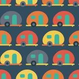 Camper van seamless vector pattern. Retro Caravans red, blue, yellow, orange seamless vector background. Scandinavian flat style. vector illustration