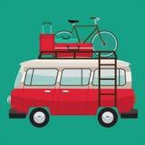 Camper van. Summer vacation. Vector flat color design Royalty Free Stock Image