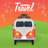 Camper van. Summer vacation. Vector illustration. Stock Photo